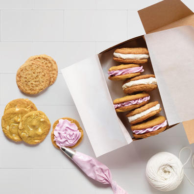 Cookies with frosting in a box