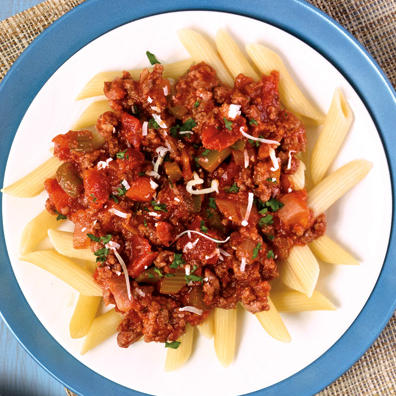 Penne pasta with red marinara sauce