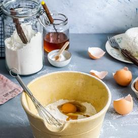 Mixing bowl and eggs